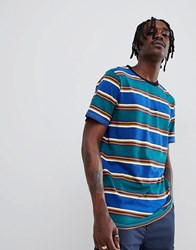 Globe Stripe T Shirt With Chest Embroidery In Ombre Blue