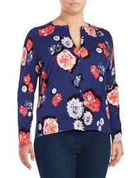 Lord And Taylor Plus Floral Print Cotton Cardigan Purple