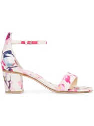 Monique Lhuillier Floral Print Sandals White