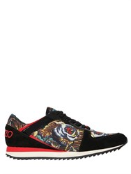 Kenzo 20Mm Tiger Print Satin And Suede Sneakers