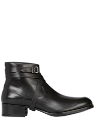 Mr Hare Leather Boots With Wrap Around Strap Black