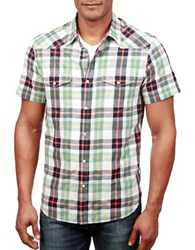 Lucky Brand Short Sleeve Plaid Shirt Blue Green