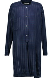 Etoile Isabel Marant Peneloppe Checked Flannel Shirt Dress Midnight Blue