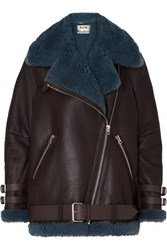 Acne Studios Velocite Two Tone Shearling Trimmed Leather Biker Jacket Brown