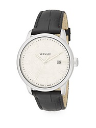 Versace Business Stainless Steel And Embossed Leather Watch White Black