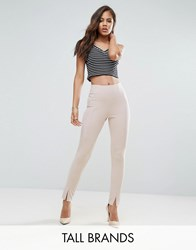 Missguided Tall Split Front Cigarette Trousers Blush Pink