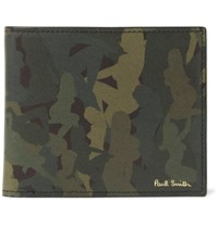 Paul Smith Camouflage Print Cross Grain Leather Billfold Wallet Green