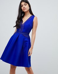 Little Mistress Full Prom Mini Skater Dress In Cobalt Blue
