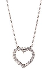 Nordstrom Rack Sterling Silver Cz Heart Pendant Necklace No Color