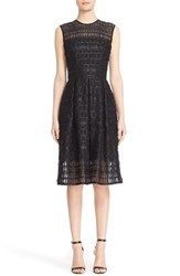 Carmen Marc Valvo Women's Sleeveless Lace Organza Fit And Flare Dress