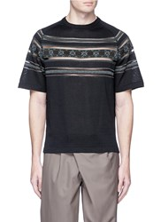 Kolor Tribal Intarsia Mesh Trim Short Sleeve Sweater Black Multi Colour