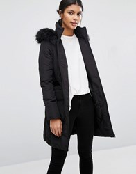 Warehouse Padded Coat With Faux Fur Hood Black