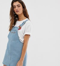 Santa Cruz Denim Dungaree Dress With Embroidered Logo Blue