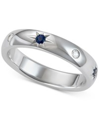 Marchesa Sapphire 1 5 Ct. T.W. And Diamond 1 10 Ct. T.W. Band In 18K White Gold Created For Macy's