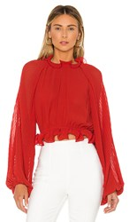 C Meo Collective Longevity Blouse In Red. Cherry