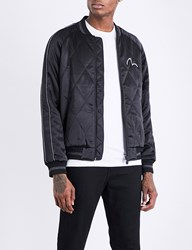 Evisu Fish Embroidered Satin Bomber Jacket Black