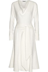 Maiyet Woman Belted Silk Crepe Dress Ivory