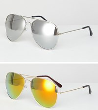 7X 2 Pack Aviator Sunglasses Gold