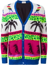 Saint Laurent Intarsia Knit Cardigan Multicolour
