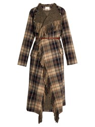 Chloe Fringed Wool And Cotton Blend Tartan Coat Multi