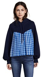 Sea Bell Sleeve Combo Sweatshirt Navy And Blue Check