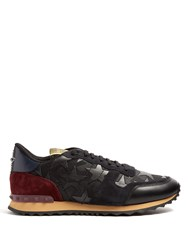 Valentino Rockrunner Leather And Suede Trainers Black Multi