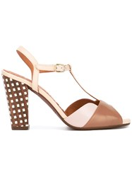 Chie Mihara Checked Heel Sandals Brown