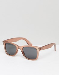 Asos Square Sunglasses In Crystal Dusky Rose Pink