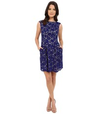 Vince Camuto Scalloped Floral Lace Overlay Dress Blue Women's Dress