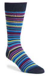 Bugatchi Men's Multicolor Stripe Socks Midnight