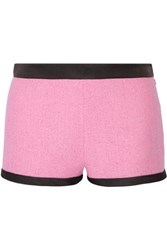 Moschino Satin Twill Trimmed Cotton Blend Boucle Tweed Shorts Baby Pink