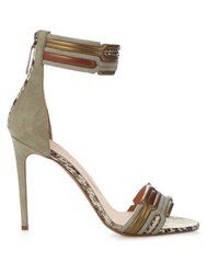 Peter Pilotto Geometric Ankle Strap Suede Sandals Grey Multi