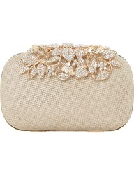 Dune Emberrs Embellished Clasp Clutch Bag Gold Metallic Fabric