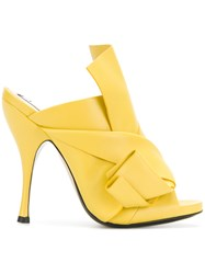N 21 No21 Abstract Bow Stiletto Mules Yellow And Orange
