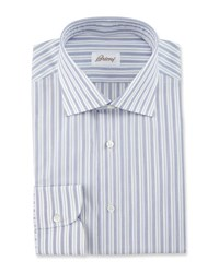 Brioni Bold Stripe Dress Shirt Navy White