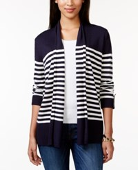Charter Club Petite Striped Roll Tab Sleeve Cardigan Only At Macy's Intrepid Blue Combo