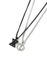 Topman Black And Silver Look Multirow Symbol Necklace