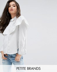 Missguided Petite White Stripe Frill Long Sleeve Collared Shirt White