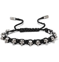 Alexander Mcqueen Silver Tone Skull And Leather Bracelet Black