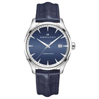 Hamilton H32451641 Men's Jazzmaster Date Leather Strap Watch Navy