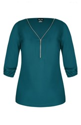 City Chic Plus Size Sexy Fling Zip Front Top Teal