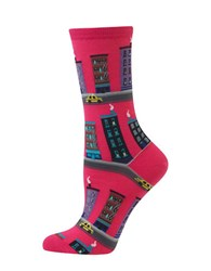 Hot Sox City Street Printed Cotton Blend Socks Bright Pink