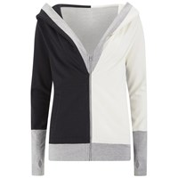 Norma Kamali Women's Zip Combo Hoody Black Heather Grey Owl
