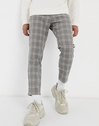 Bershka Skinny Check Trousers In Grey