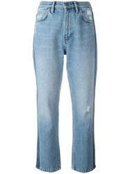 Mih Jeans Striped Sides Cropped Blue