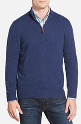 Nordstrom Men's Big And Tall Men's Shop Regular Fit Cashmere Quarter Zip Pullover Blue Estate Heather