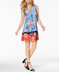 Msk Petite Printed O Ring Dress Sky Orange