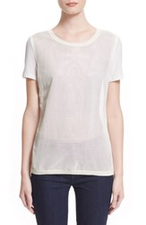 Women's Moncler 'Maglia' Perforated Leather And Cotton Tee