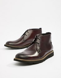 Original Penguin Leather Lace Up Boots In Oxblood Red