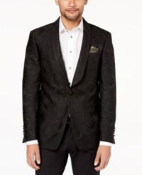 Tallia Orange Men's Big And Tall Modern Fit Black Tonal Paisley Dinner Jacket